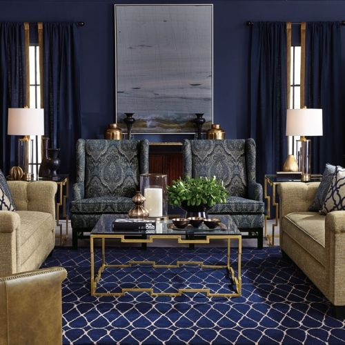 We love the deep colors of this gorgeous, glamorous Bernhardt living room! Find beautiful Bernhardt furniture like this at West Coast Living