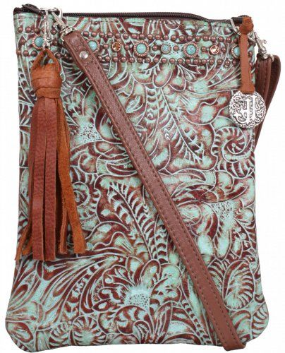Turquoise/Brandy Floral Pouch Purse by Double J Saddlery