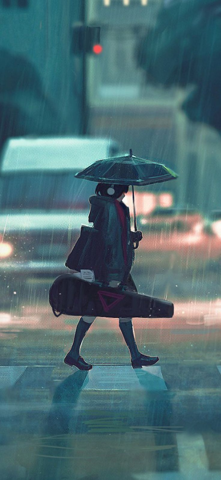 rainy day anime paint girl iPhone X wallpaper ภาพประกอบ