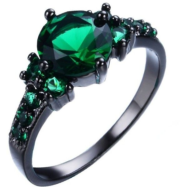 Junxin Black Gold Emerald Green Round Cubic Zirconia CZ Stones Ring... (36 SAR) ❤ liked on Polyvore featuring jewelry, rings, gold wedding rings, wedding band rings, gold ring, gold jewellery and gold jewelry