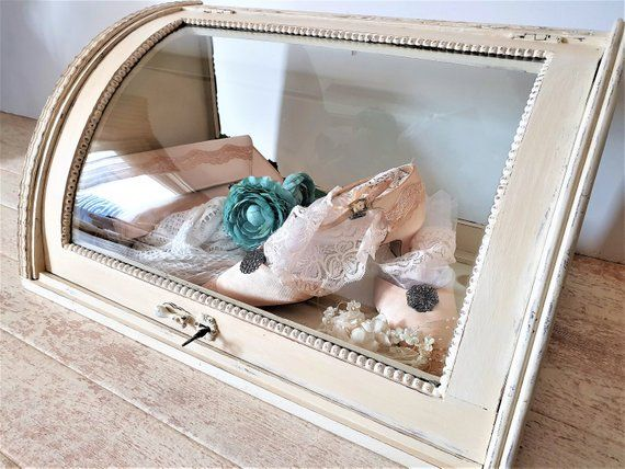 Extra Large Shabby Chic Glass Top Box Display Case Vintage Shadow Box Jewelry Display Case Store Countertop Wooden Display Cabinet Wooden Display Cabinets Jewelry Display Case Display Case
