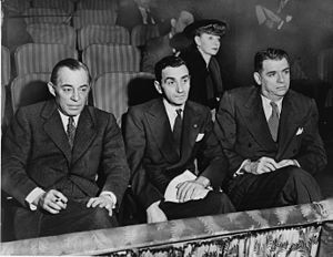 Rodgers (left) and Hammerstein (right), with Irving Berlin (middle) and Helen Tamiris, watching auditions at the St. James Theatre in 1948