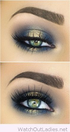 Navy and golden eye makeup