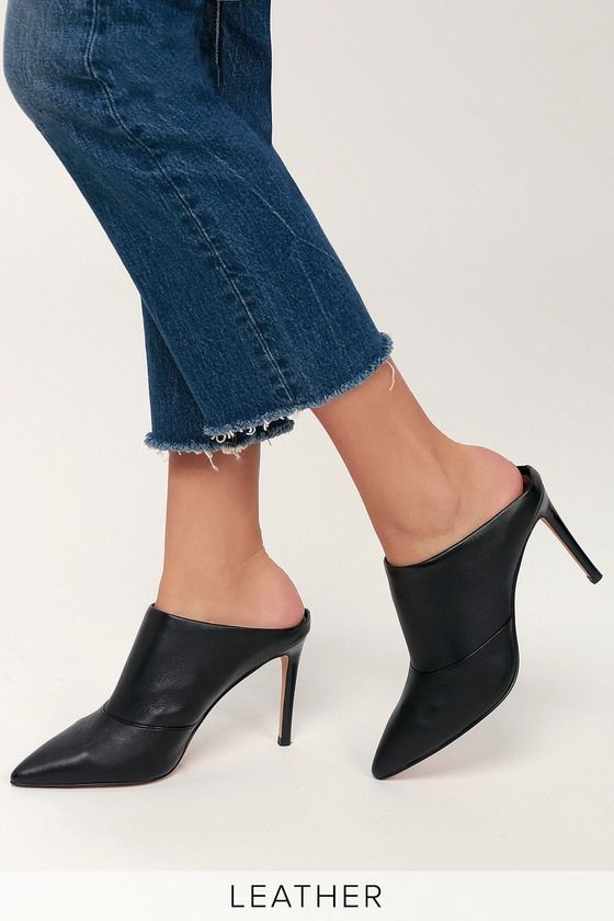 28616223e29 Cinda Black Leather Pointed Toe Mules | hanger&drawers | Shoes ...
