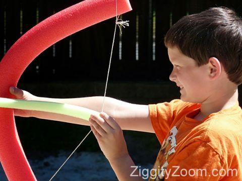 Foam Bow and Arrow, super fun craft that kiddos can make! @kpfitch #outdoorfun #crafttime