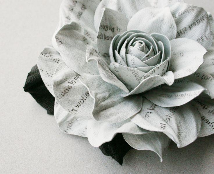 Newspaper style pale grey leather rose flower brooch by leasstudio, $27.00