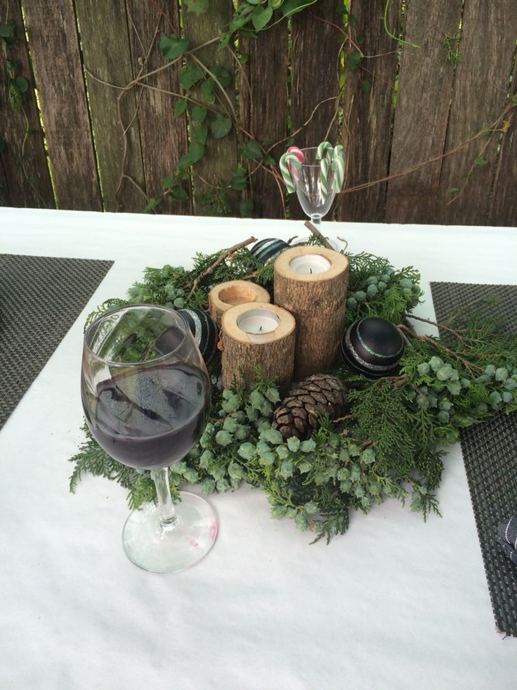 Centrepiece and a glass of wine!