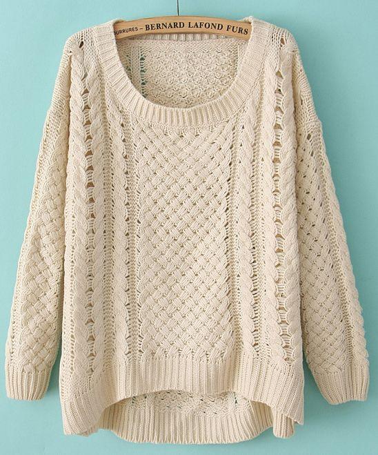 Beige Pink Round Neck Long Sleeve Hollow Sweater - Sheinside.com