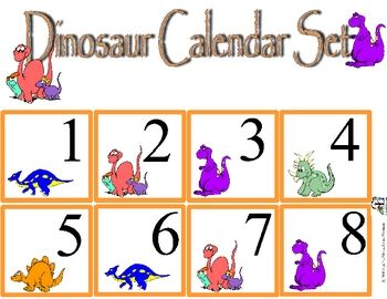 Free Calendar set that will work with your dinosaur themed unit. Includes months and number cards.