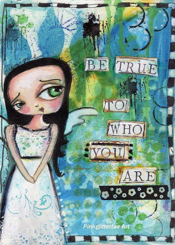 Big eyed Girl Print Inspirational Children's Art by pinkglitterfae