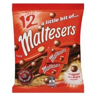 A bulk box of 12 Maltesers Funsize Packs.