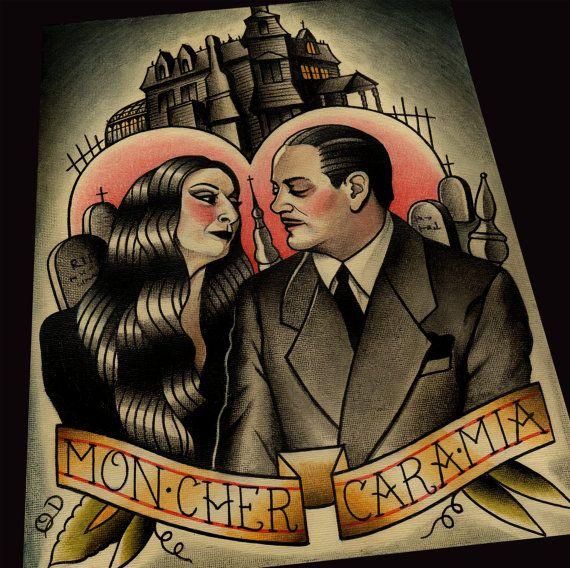 Morticia et Gomez Art Print par ParlorTattooPrints sur Etsy