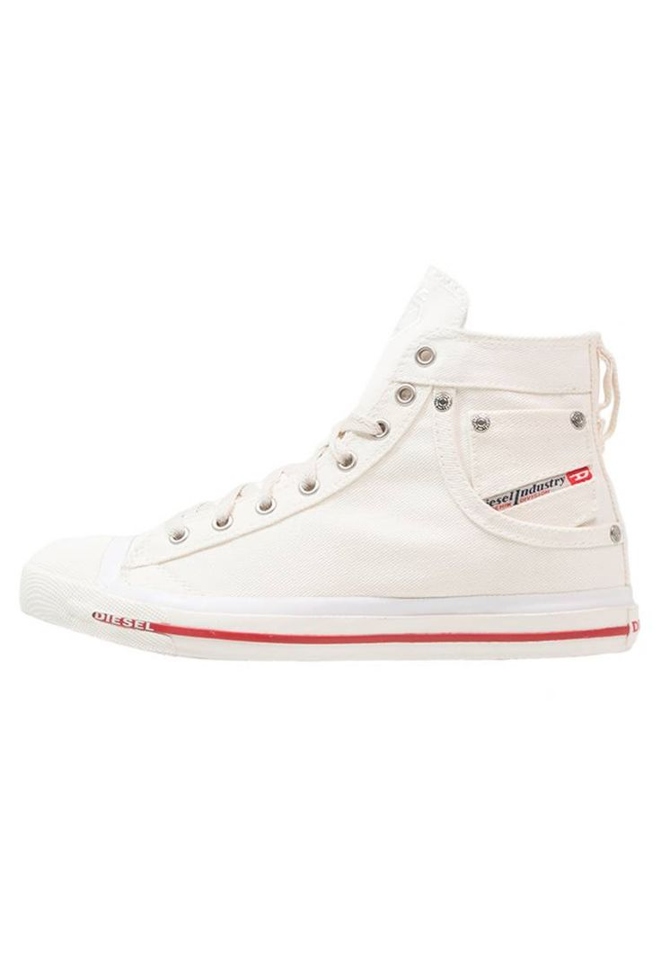 Diesel. EXPOSURE - High-top trainers - bright white. Sole:synthetics. Padding type:Cold padding. Shoe tip:round. Lining:textile. detail:decorative studs,decorative seams. shoe fastener:laces. Fabric:Denim. upper material:textile. Insole:textile