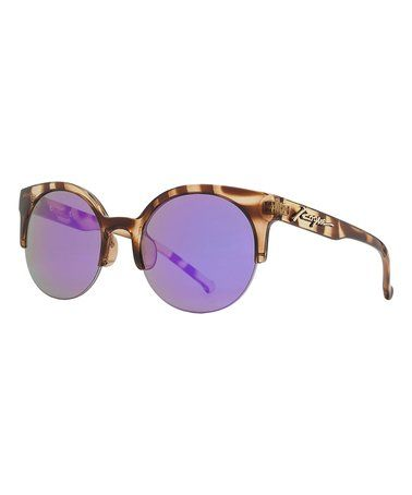 Look what I found on #zulily! Tortoiseshell Brown & Purple Polarized Browline Sunglasses #zulilyfinds