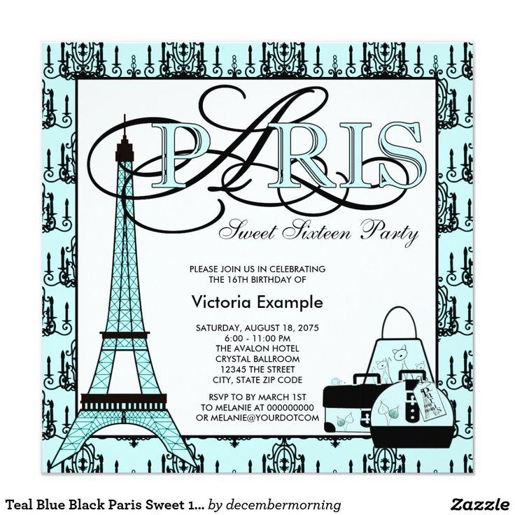 Teal Blue Black Paris Sweet 16 Birthday Party Invitation
