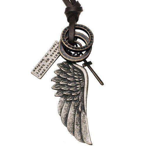 R&B Joyas - Collar hombre estilo vintage, cordón de cuero marrón con colgantes ala de ángel & cruz de metal plateado: Amazon.es: Joyería
