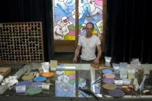 The making off a Stained glass window for 'de Nieuwe Kerk' Amsterdam.