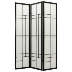 Oriental Furniture Six Foot Tall Edo Three Panel Shoji Screen - Black.jpg
