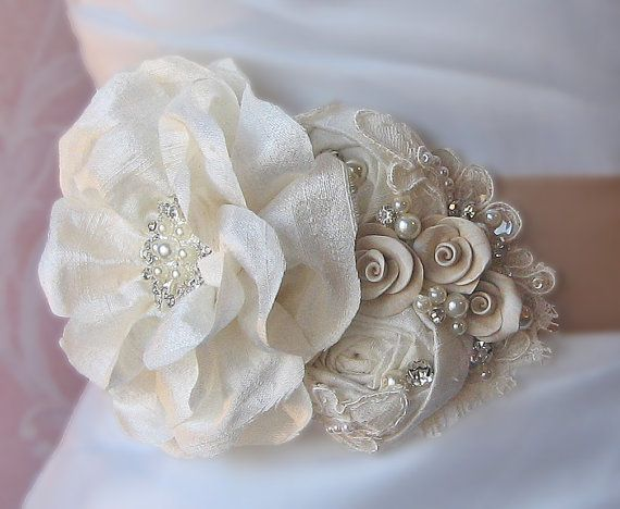Champagne and Ivory Bridal Sash Wedding Belt by TheRedMagnolia, $148.00