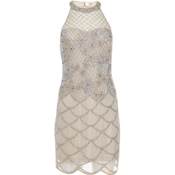 Plus Size us16 uk20 aus20 eu48 Grey Silver Flapper Maddie Dress 20s... ($149) ❤ liked on Polyvore featuring dresses, silver, women's clothing, gray cocktail dress, silver cocktail dress, grey cocktail dress, women's plus size dresses and vintage dresses