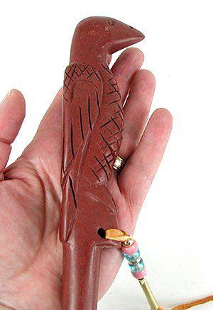 Authentic Native American catlinite pipestone raven pipe tamper by Lakota artist Alan Monroe