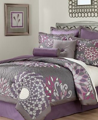 Purple and grey bedding on pinterest gray bedding comforter sets