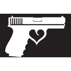 Gun w/ Heart Silhouette Decal Sticker Die Cutz