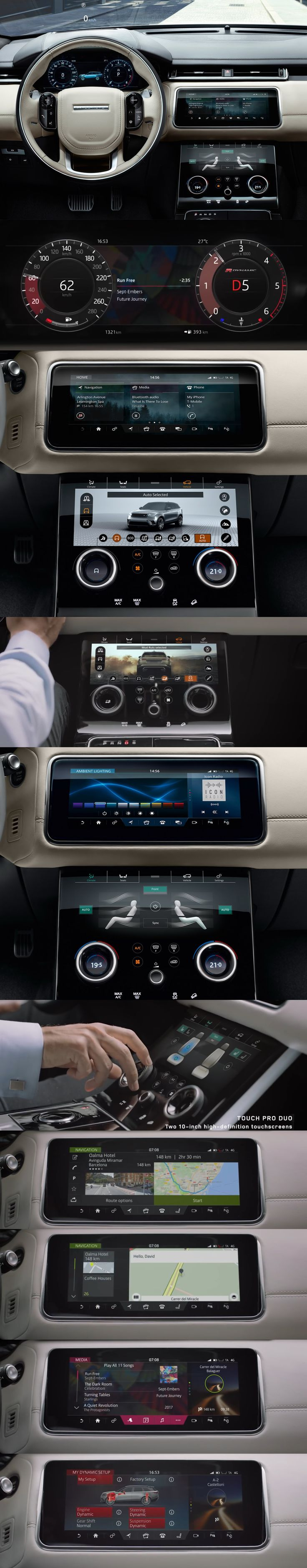 Land Rover // Range VELAR UX/UI design // Cluster 12'' HD + 2x10'' Central display // 2017