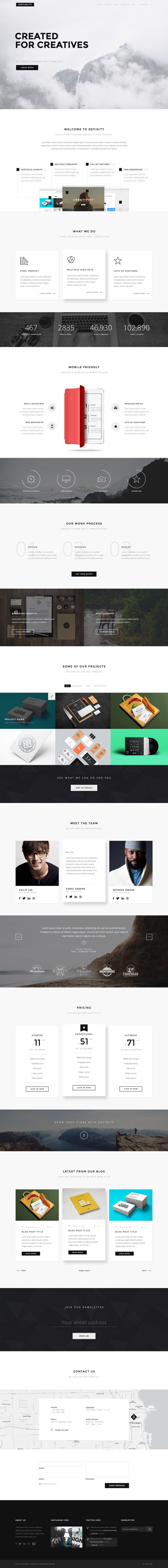 Definity is clean and minimal, multipurpose one page & multi page HTML5 template