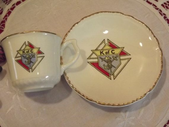Rare Vintage K of C Demi-tasse Tea Cup and Saucer Knights of Columbus Catholic Mens Group on Etsy, $20.00