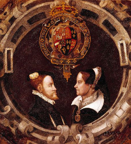 Queen Mary I of England and her husband Phillip II of Spain by the English School. The marriage took place 2 days after their meeting, on 25 Jul the day of St. James- patron saint of Spain.