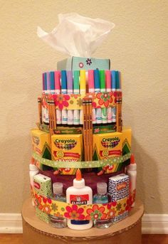 Teacher Supply Cakes by VarietyCakes on Etsy, $40.00