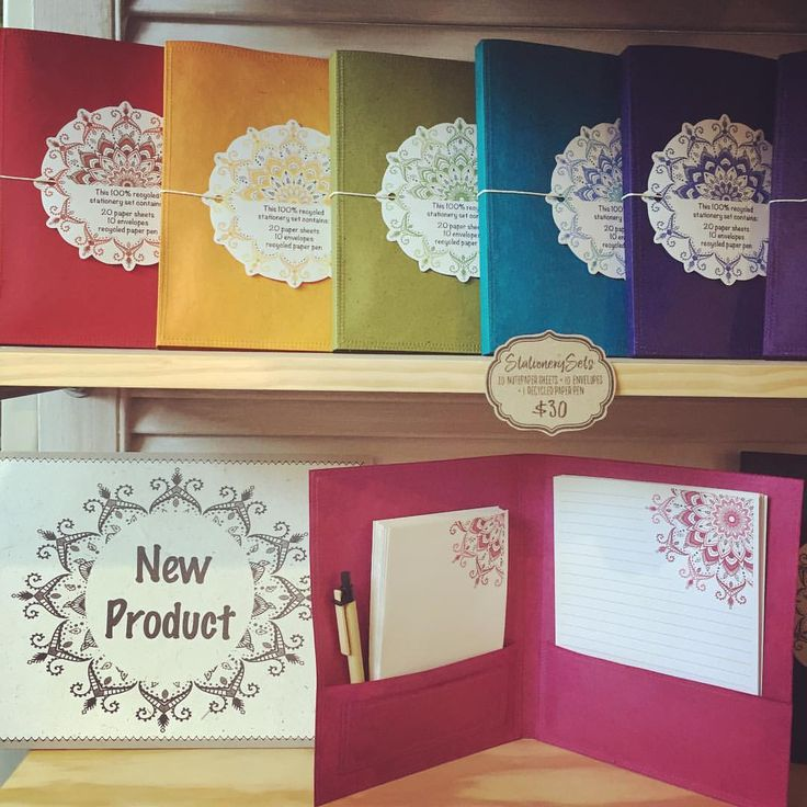 New goodies on the stall today - 100% recycled stationery sets . Which colour is your favourite?