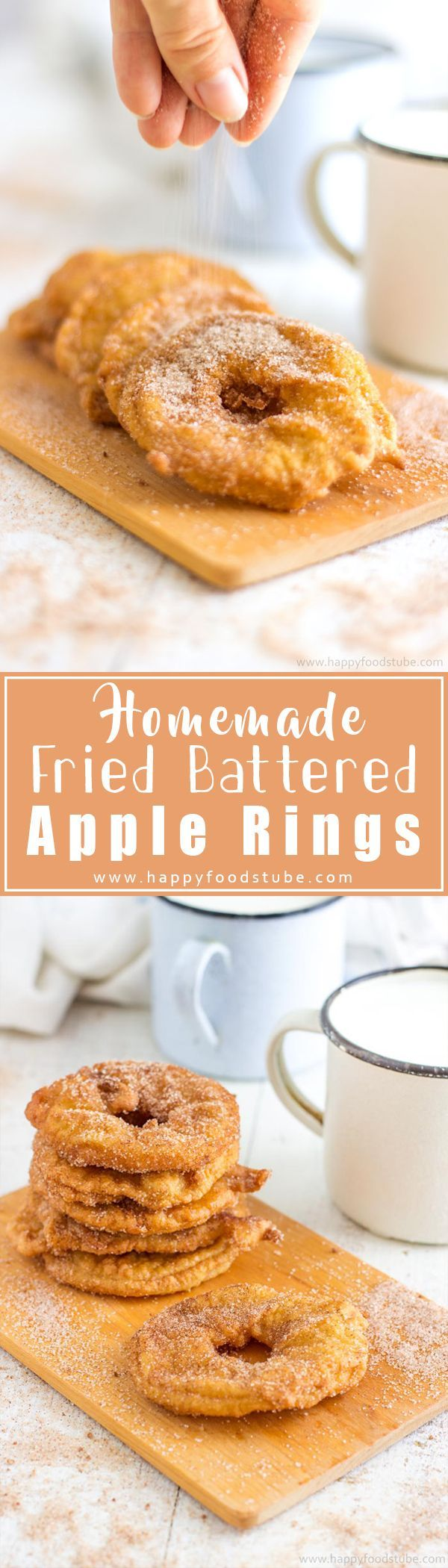Homemade Fried Battered Apple Rings are simple yet mouth-watering treat! Apple slices dipped in batter, deep-fried & coated in cinnamon sugar! Family favorite dessert recipe, ready in 15 minutes!   happyfoodstube.com