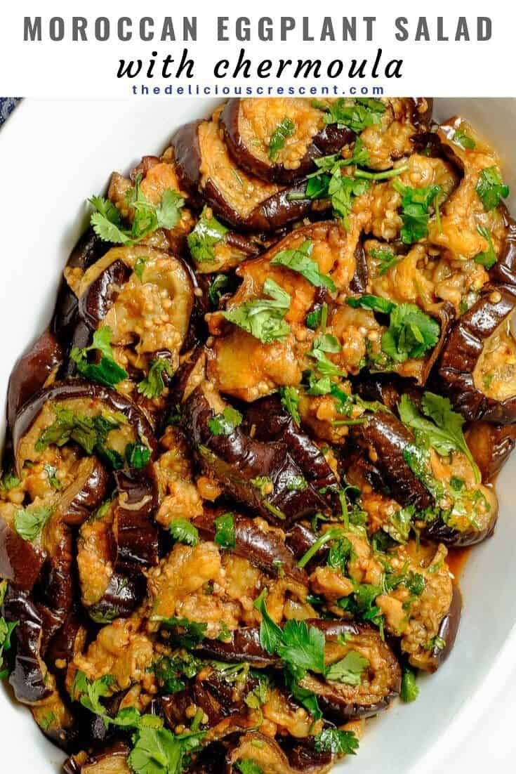 Eggplant Salad With Delicious Moroccan Chermoula Dressing Is Made With Roasted Eggplant Slices Yo Low Carb Eggplant Recipes Low Calorie Vegan Eggplant Recipes