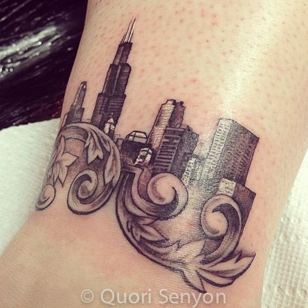 Chicago Skyline Tattoo by artist : Quori Senyon. Booking Tattoo appointments at Royal Flesh Tattoo and Piercing 4005 N Broadway St, Chicago, IL 60613 (773) 975-9753 royalfleshtattoo.com