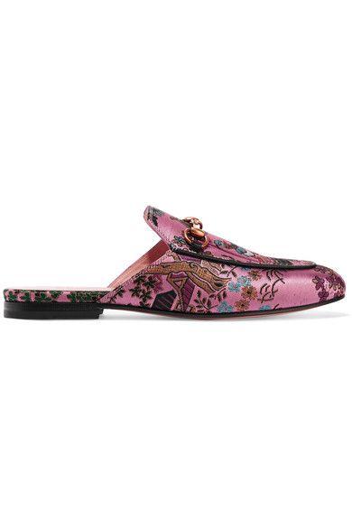 Gucci - Princetown Horsebit-detailed Metallic Jacquard Slippers - Pink - IT40