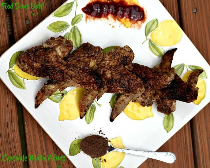 On the healthy side! Caribbean Mole Bake Chicken Wings - Low Calorie, Low Fat Party Food - Repin for later