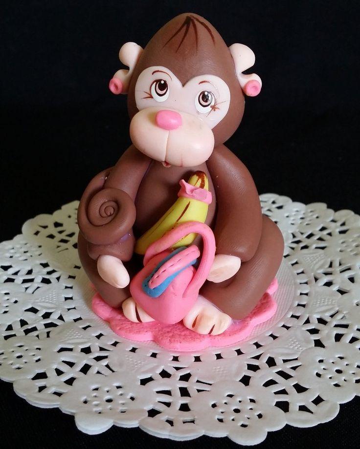 Girly Jungle Monkey Cake Decoration, Pink Monkey Cake Topper, Jungle Monkey Cake Topper