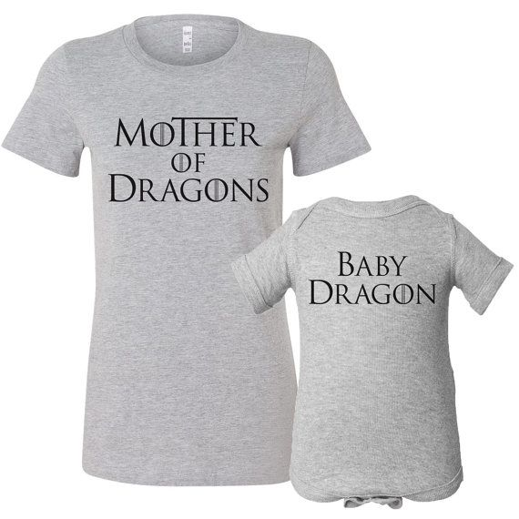 Mother of Dragons Shirt Set, Game of Thrones Shirt, Game of Thrones Baby, Mom and Baby Matching Shirt Set, Dragon Baby Shirt, New Mom Shirt