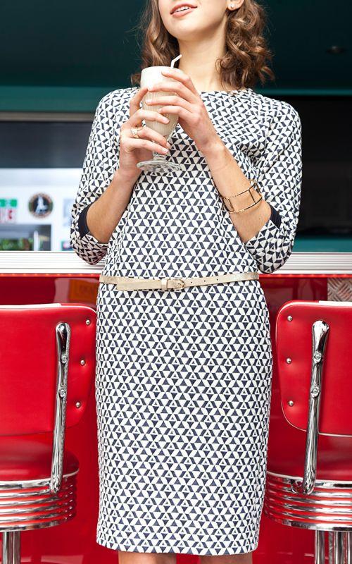 Kyoto Jurk in wit-blauwe tricot