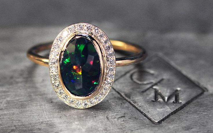 1.17 Carat Black Opal Ring with Diamond Halo - CHINCHAR•MALONEY