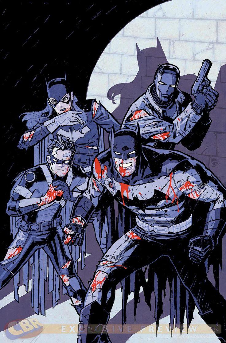 Batman Eternal #50 by Cliff Chiang. Batman, Batgirl, Red Robin, and Red Hood.