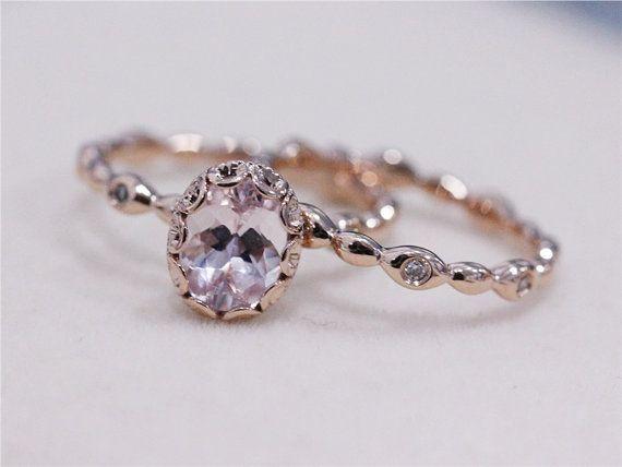 Unique 2 Rings Set - VS 6x8mm Pink Morganite Wedding Set w/ Full Eternity Matching Band 14K Rose Gold Morganite Ring Engagement Ring