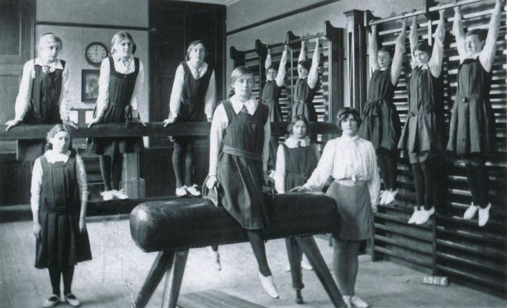 Gym class 1930. How they dressed then versus how to they dress now.