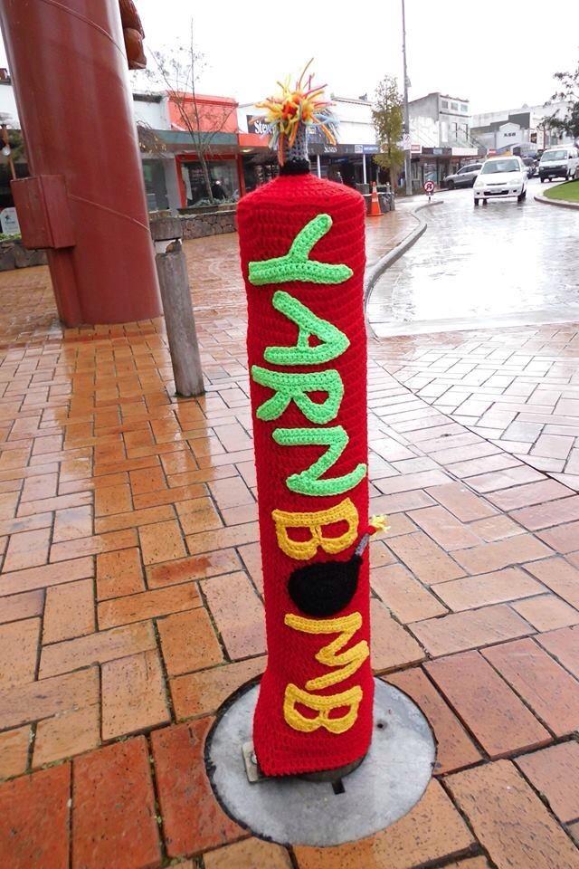 """Rotorua City Focus Bollards 2015 """"Yarnbomb Rotorua"""""""