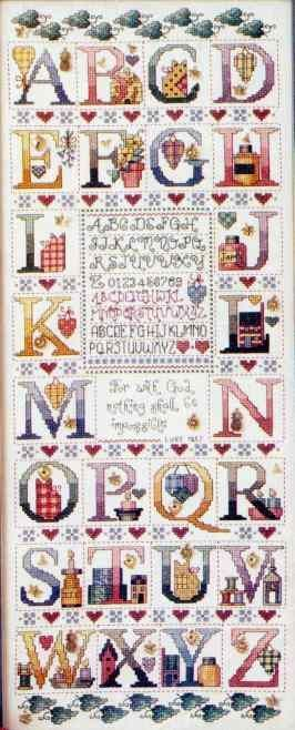 Schema punto croce Abc Tea 00. Alphabet sampler   cross stitch alphabet