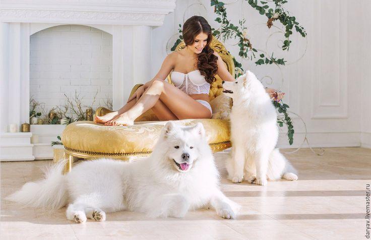 Купить Комплект свадебного белья №1 - белый, белое белье, белый бюстгальтер, свадебное белье