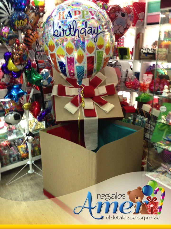 envoltura  caja de 60 x 60 decorada con globo de 36