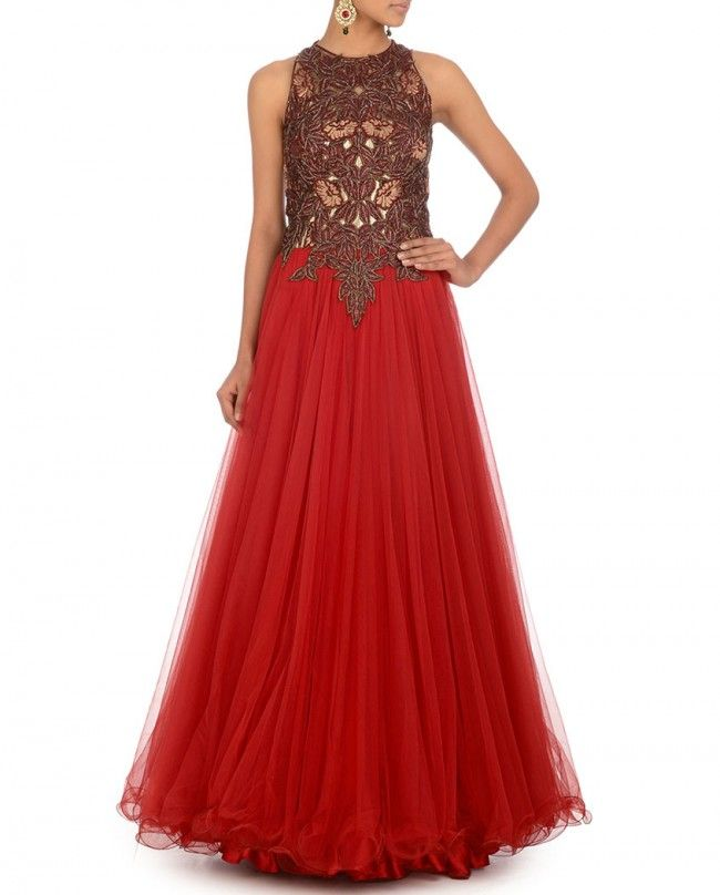 Lust Red Gown with Embroidery & Bugle Beads- Buy Dresses,Expressionist by Jaspreet,Reception,Day 6 Online | Exclusively.in